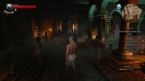 Päähenkilö Geralt kylpylässä.