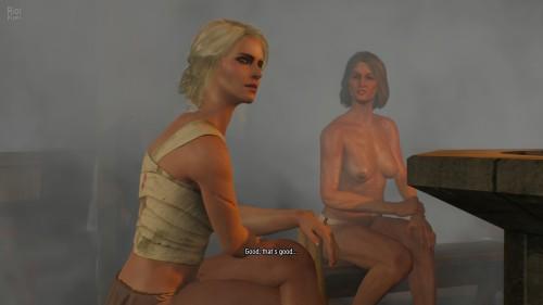 Ciri vasemmalla, yksi kylän naisista oikealla.