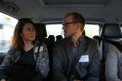 Summit participants discuss the issues on the way to the gala dinner, unaware of the impeding zombie attack. Photo: Sigrid Reede